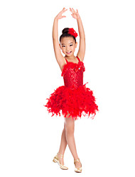 Kids' Dancewear Dresses Children's Training Spandex / Sequined / Tulle Bow(s) / Feathers /Fur / Sequins Red / WhiteBallet / Ballroom /