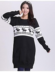 Maternity Round Neck Full Sleeve Casual Fleece Hoodie Dress Long Top