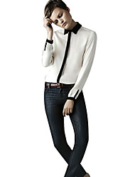 Women's Lapel Neck Contrast Color Splice Bodycon Shirt
