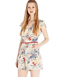 Women's V-Neck Traditional French Country Fabrics Print Jumpsuit