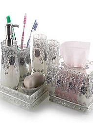 7 Piece Bath Collection Set Resin Material Silver Color,Bath Ensemble, Bath Accessory Set