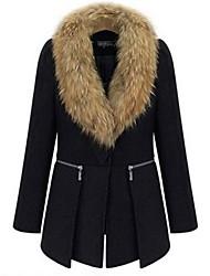Women's V Neck Winter Plus Size Zipper Woolen Blend Coat