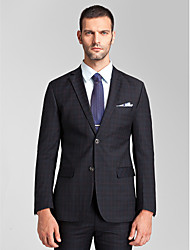 poliéster azul oscuro adaptado ajuste traje de dos piezas