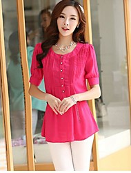 Women's Korean Version Of Slim Short-Sleeved Round Neck And Long Sections Chiffon Shirt