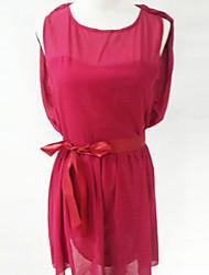 OULIYA Women'S Slim Sleeveless Chiffon Dress(Red)