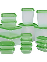Transparent Green Food Container Polypropylene Plastic 17 Set, 23X16X8CM