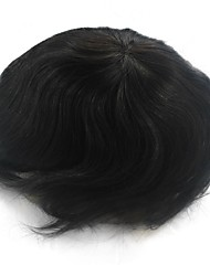 6 Inch Natural Black Hair System for Men Hairpiece Hair Replacement, Size Adjustable, Bleached Knots Front