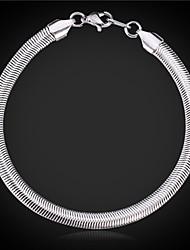 u7 alta qualidade pulseira cadeia cobra 5 milímetros de titânio de aço 316L, 8inches (20cm)