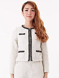 elegante cappotto manica lunga donna zyqy (bianco)
