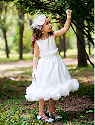 Princess Tea-length Flower Girl Dress - Silk Square with Ruffles / Sash / Ribbon