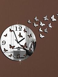 Wall Clock Stickers Wall Decals, Modern Design Butterflies Mirror Acrylic Wall Stickers