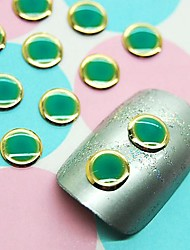 100PCS Green Round Design Studs with Gold Line Nail Art Decoration