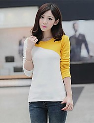 Women's Round Neck Elegant Color Patchwork Slim Shirt