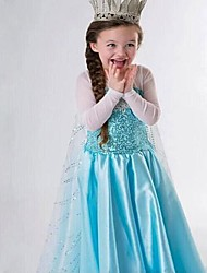Girl's Blue Costume Princess Snow Queen Cosplay Long Dress