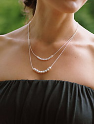 Shixin® Vintage Double Chain Pearl Silver Pendant Necklace(1 Pc)