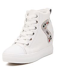 Yimei женщины каблук lifed досуг стелька высокие ботинки (белый)