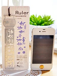 Multi-Function Metal Hollow-out Drawing Ruler Bookmark(Fish Tank)