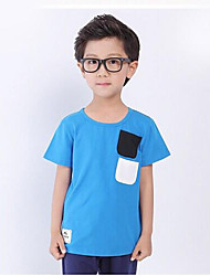 Boy's Casual Child T Shirt Round Neck Short T Shirt Solid Color Clothing  Small Children
