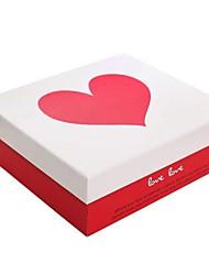 padrão de coração caixa de presente vermelha e branca