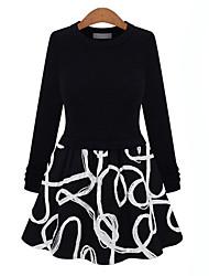 Lirong vestido novo slim tudo-combinado (preto-branco)