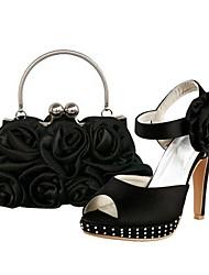 zapatos de mujer peep toe sandalias de tacón de aguja de satén zapatos a juego bolso de noche de raso