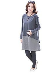 Maternity Casual Round Collar Stitching Commoner Style Clothing Sets(Blouse&Pants)