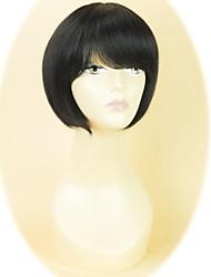 100% des cheveux frange pleine bobo cheveux capless perruque droite