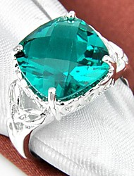 Square Green Quartz Gemstone Silver Ring 1PC