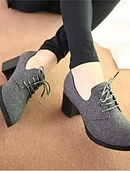 Women's Spring / Fall / Winter Heels / Closed Toe Suede / Velvet Office & Career / Casual Chunky Heel Lace-up Black / Gray