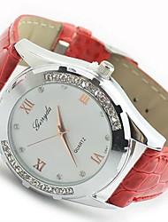 MZX Women's Simple Diamond Quartz Movement Leather Watch