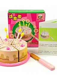4pcs anniversaire en forme de gâteau maison en bois de jeu semblant jouets d'