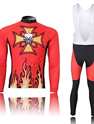 XINTOWN Men's Fire is Phlogistic Skull Quick Dry Moisture Absorption Long Sleeve Bib Tights Cycling Suit—Red
