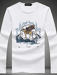 Herren T-shirt-Druck / Einfarbig Baumwolle Lang-Schwarz / Rot / Weiß
