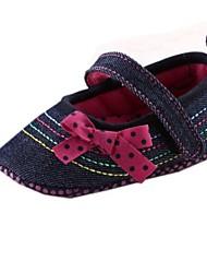 обувь Мэри Джейн плоский каблук хлопка бездельники девушки с бантом обувь
