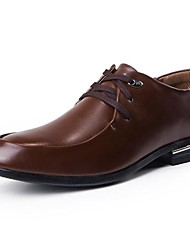 Men's Spring Summer Fall Comfort Leather Office & Career Casual Flat Heel Lace-up Tan Black
