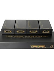 hdmi splitter extensor 1 entrada se extiende a través de 4 pantallas cat5e / 6 cables, distancia 60 meters.amplifier 1080p hd cuadro cubo 3d