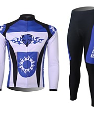 XINTOWN Men's Fight the Wolf Quick Dry Moisture Absorption Long Sleeve Cycling Suit—White+Blue
