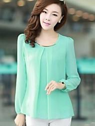 Women's Black/Blue/Green/Pink Blouse/Shirt Long Sleeve