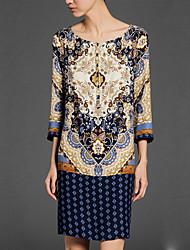 BALI Fashion Round Vintage Floral Print Sleeve Dress