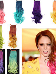 excelente qualidade sintética de 18 polegadas de comprimento ondulado gradiente fita peruca rabo de cavalo - 8 cores disponíveis