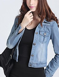 elegante de manga larga de mezclilla lindo abrigo chaqueta corta delgada de las mujeres