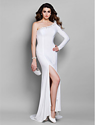 Formal Evening Dress - Elegant Trumpet / Mermaid One Shoulder Court Train Jersey with Beading