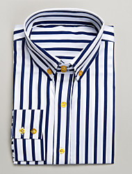 Blue&White Cotton Tailored Fit Long Sleeve Shirt