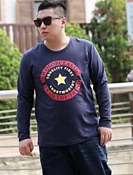 Men's Print Casual T-Shirt,Cotton Long Sleeve-Blue / White