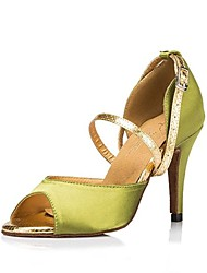 Non Customizable Women's Dance Shoes Latin Satin Stiletto Heel Green