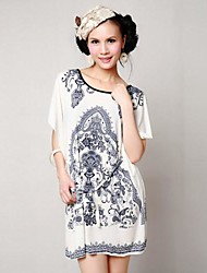 Women's New Blue and White Printing Bat Sleeve Dress (Clipping Random)
