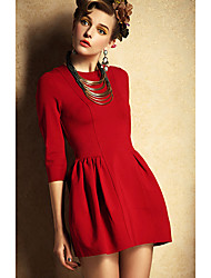 Fengzhe Women's High Waist Elastic Force Sheath 3/4 Sleeve Sheath Zipper Dress