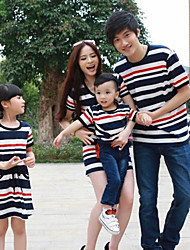 Family's Fashion Leisure Parent Child Short Sleeves Stripe Navy Wind T Shirt And Dress