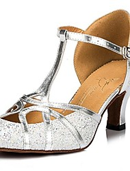 Non Customizable Women's Dance Shoes Modern Sparkling Glitter Chunky Heel Silver/Gold