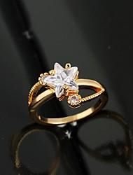 Women's Fashion Star Design 18K Gold Zircon Ring